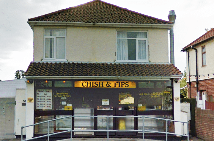 Image of a local chip shop demonstrating dyslexia and moving letters