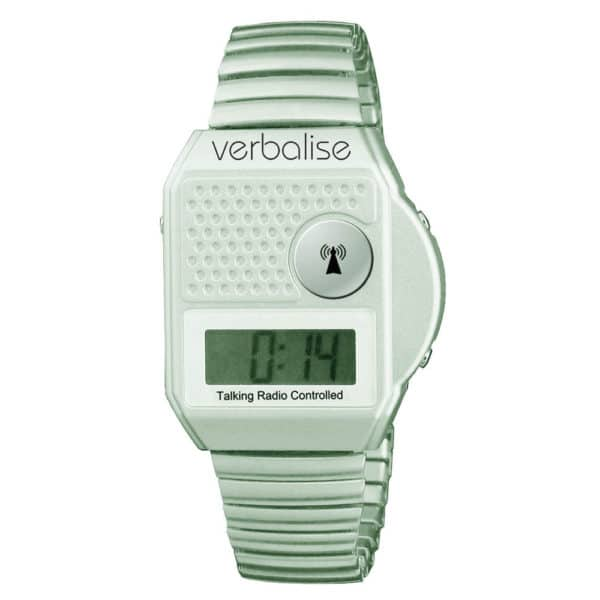 Verbalise Top Button Digital Radio Controlled Talking Watch silver